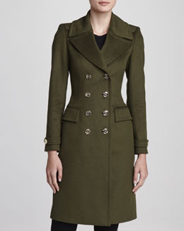 Burberry London Wool-Cashmere Military Coat, Olive