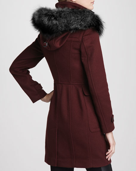 Fox Fur-Hood Wool Duffle Coat