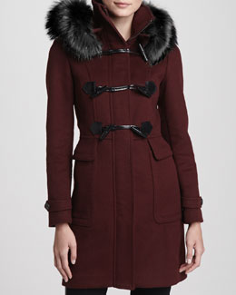 Burberry London Fox Fur-Hood Wool Duffle Coat