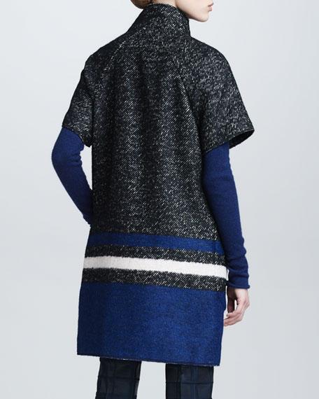 Tweed Striped Snap-Front Short-Sleeve Coat
