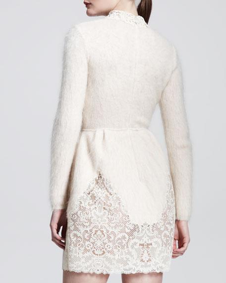 Long-Sleeve Lace & Mohair-Blend Dress