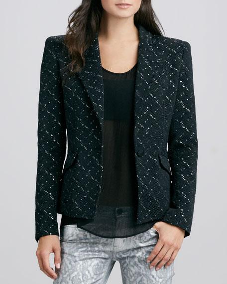 Woven Blazer Jacket, Black