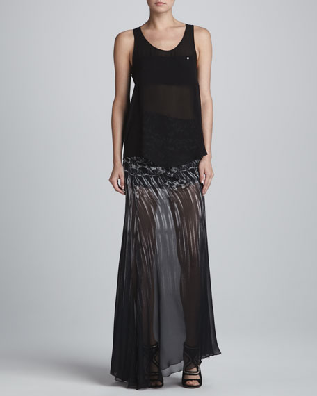 Kaleidoscope Sheer Gathered Maxi Skirt