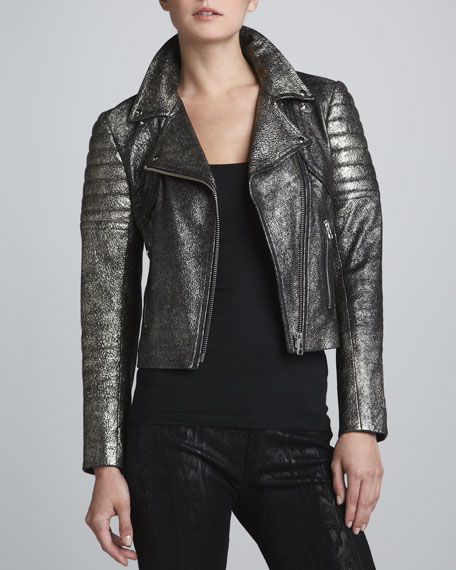 Metallic Lambskin Leather Moto Jacket