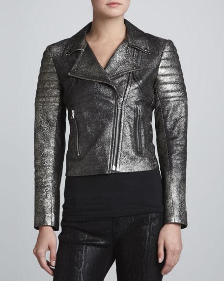 Metallic Lambskin Leather Moto Jacket