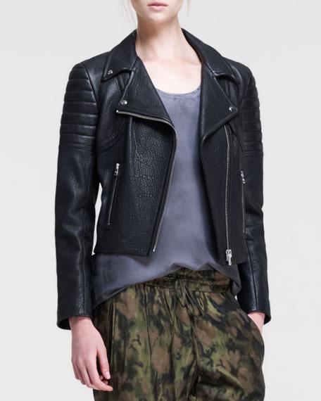 Corset-Back Leather Moto Jacket