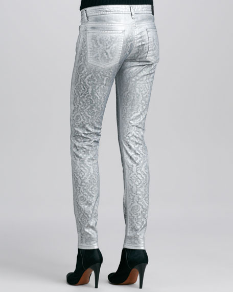 Metallic Jacquard Slim-Fit Jeans, Silver