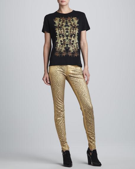 Metallic Jacquard-Print Skinny Pants