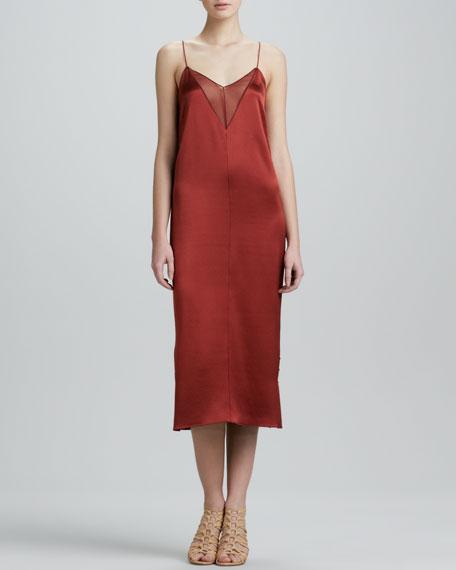 Sheer-Inset Silk Satin Slip Dress, Copper