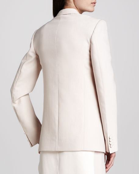 One-Button Virgin Wool Blazer, Blush