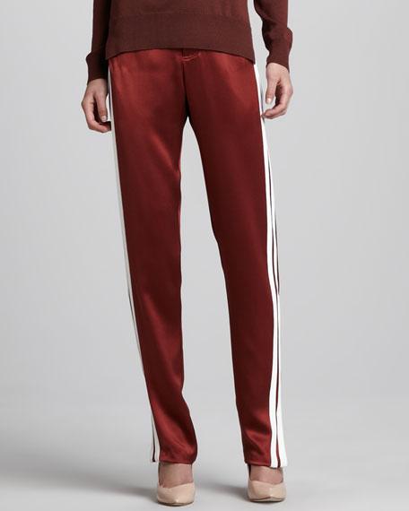 Satin Track Pants, Copper/White