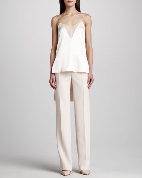 Straight Wide-Leg Pants, Blush