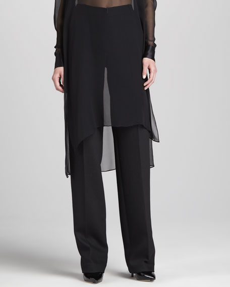 Straight Wide-Leg Pants, Black