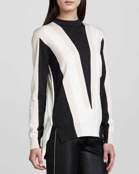 Intarsia-Knit Sweater, Gray/Blush/Ivory