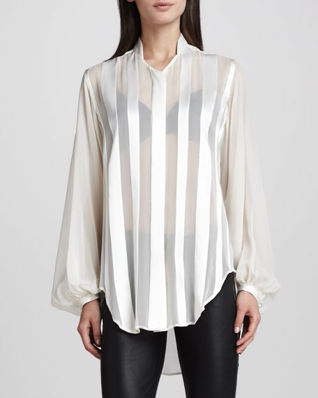 Poet-Sleeve Sheer-Striped Blouse, Ivory