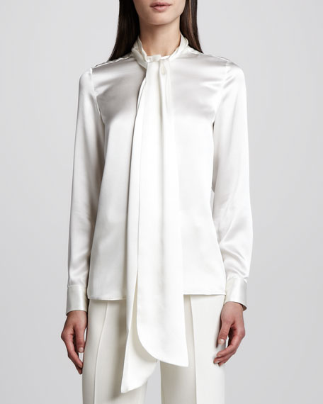 Charmeuse Tie-Front Blouse