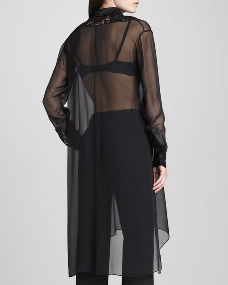 Long Lace-Bib Chiffon Tunic, Black