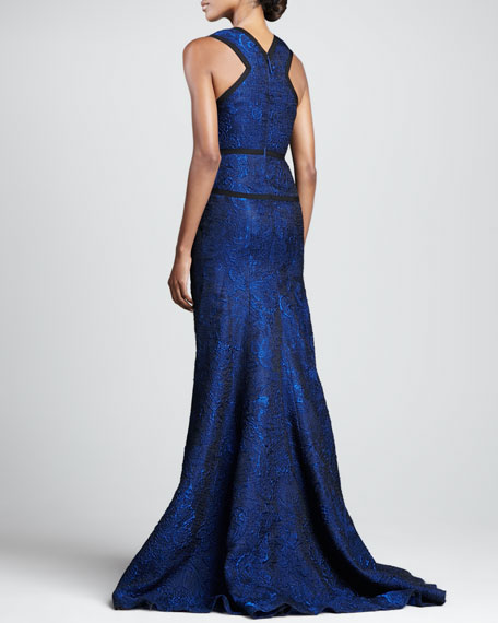 Sleeveless Plunging Jacquard Gown, Royal Blue