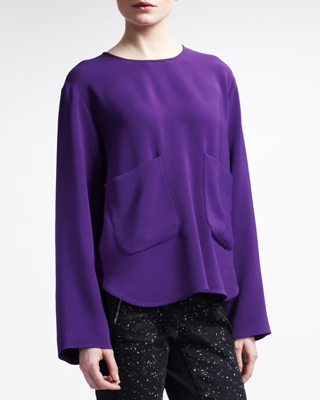 High-Low Long-Sleeve Silk Pocket Tunic
