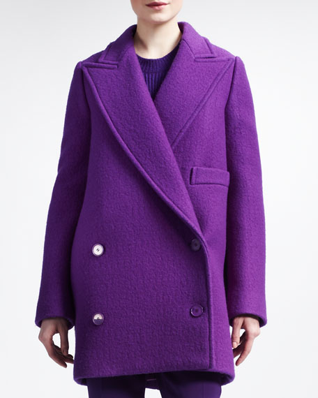 Double-Breasted Exaggerated-Lapel  Coat
