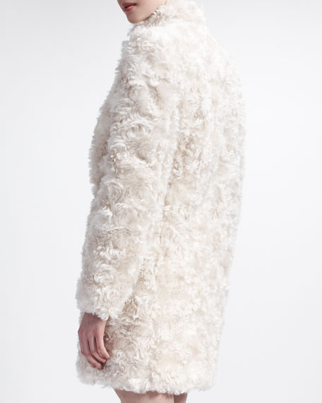 Furry Mohair Coat with Standup Collar