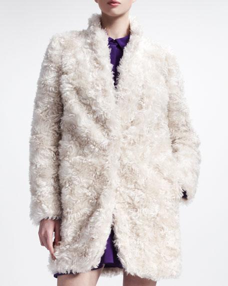 Furry Mohair Coat with Standup Collar