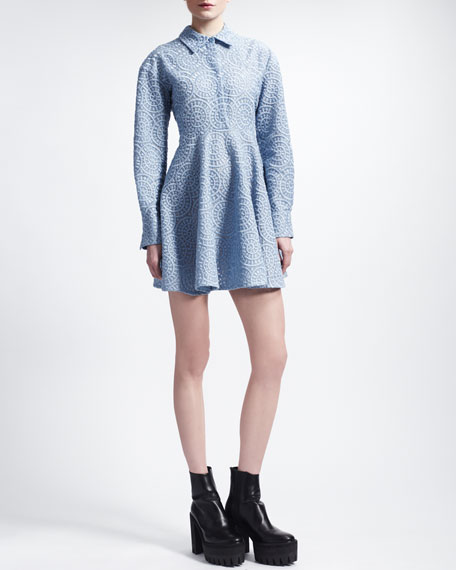 Long-Sleeve Lace Circle Dress, Oxford Blue
