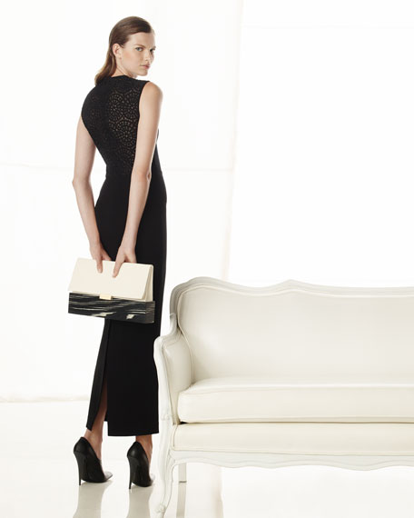 Long Sleeveless Dress with Lace Back, Black