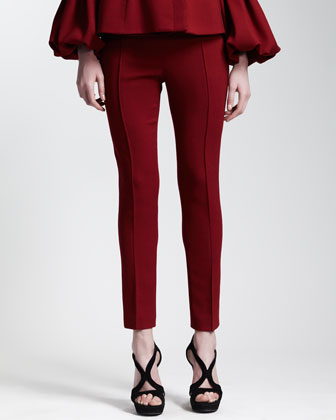 Abbreviated Pintuck Pants, Ruby