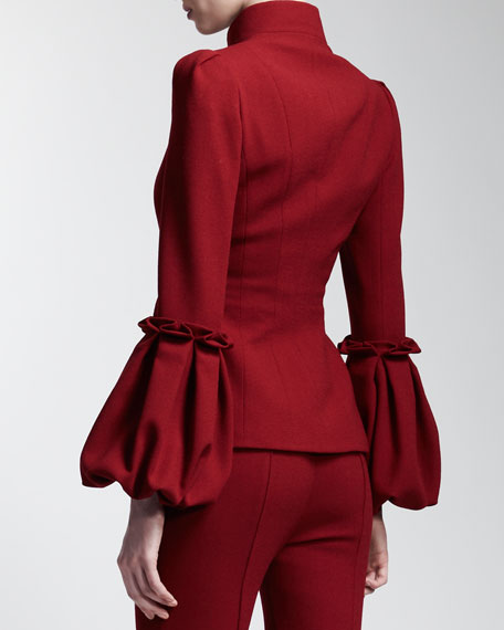 Lantern-Sleeve Wool Jacket, Ruby