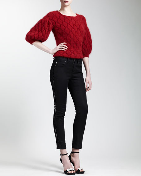 Bead-Trimmed Cropped Skinny Jeans, Black