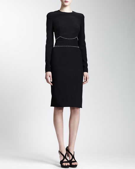 Long Sleeve Pearly-Belt Dress