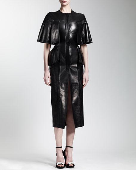 Cape-Sleeve Leather Dress, Black