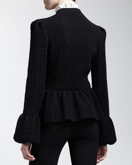 Diamond-Knit Peplum Jacket, Black
