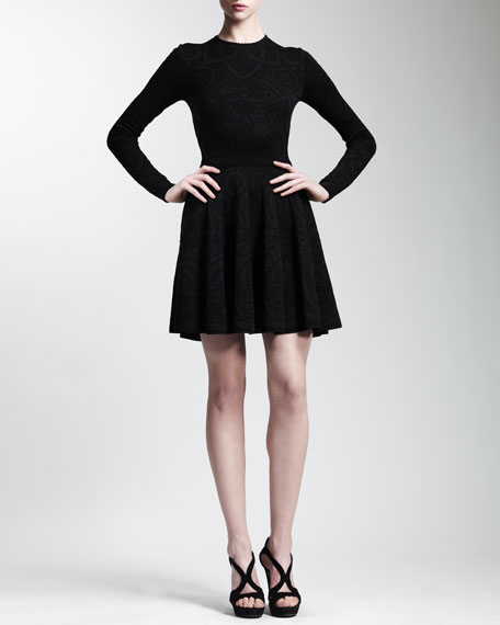 Long-Sleeve Rose Window Lace Jacquard Dress