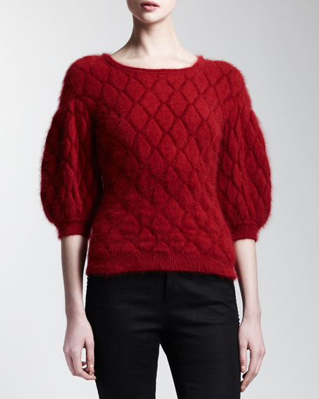 3/4-Sleeve Diamond-Knit Top, Ruby