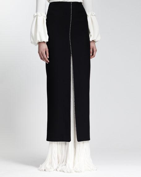 Long Bead-Trimmed Leaf Crepe Skirt