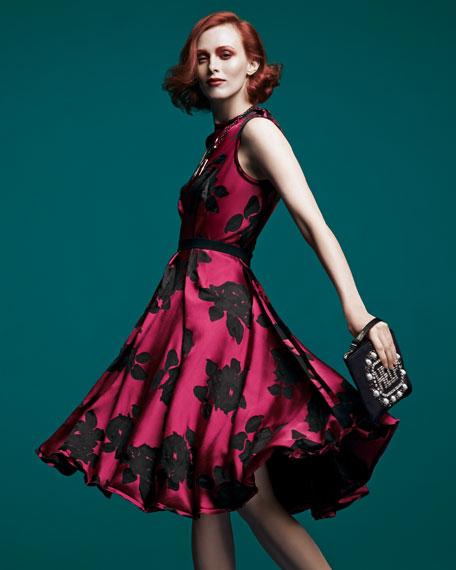 Rose Cloque Inside-Pleat Dress, Fuchsia