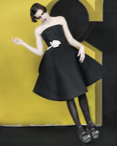 Strapless Rose Applique Gabardine Dress, Black