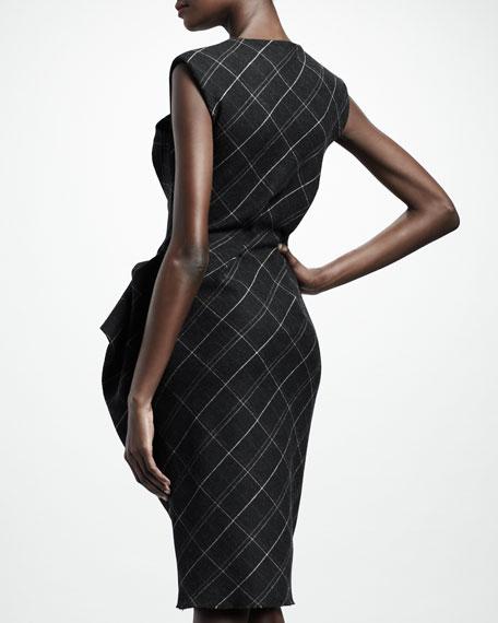 Trompe l'Oeil Check Peplum Dress, Dark Gray