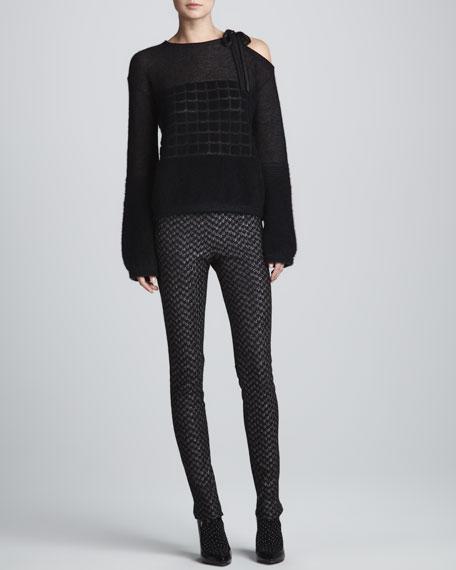 Metallic Skinny Side-Zip Pants, Black/Silver