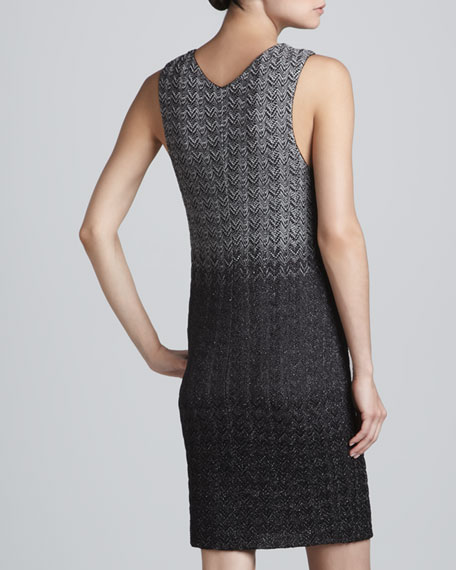 Sleeveless Metallic Degrade Dress, Steel