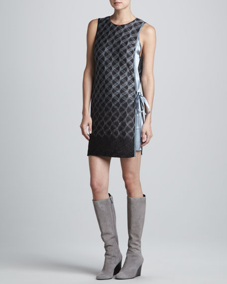 Apron-Tie Metallic Degrade Dress, Black/Silver/Aqua