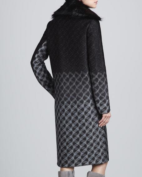 Fur-Collar Metallic Degrade Coat, Black/Silver