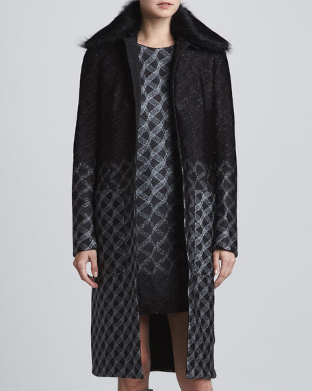 Fur-Collar Metallic Degrade Coat, Black/Silver