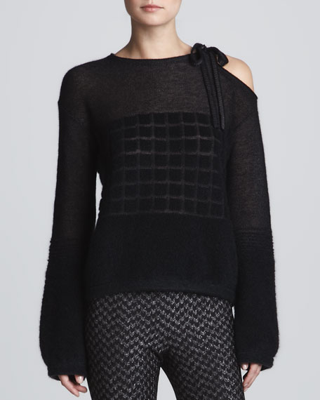 Cutout-Shoulder Geometric Knit Top, Black