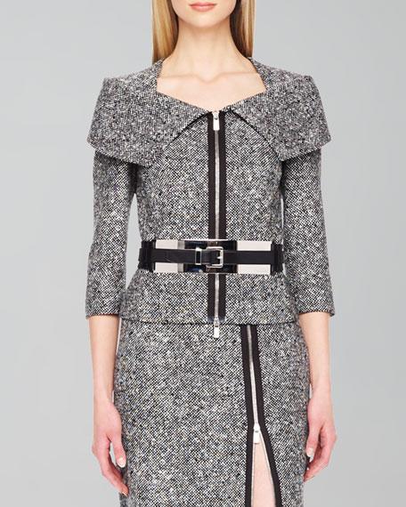 Zip-Front Tweed Jacket