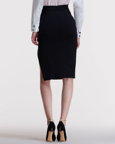 Margaret Buttoned Side-Slit Pencil Skirt