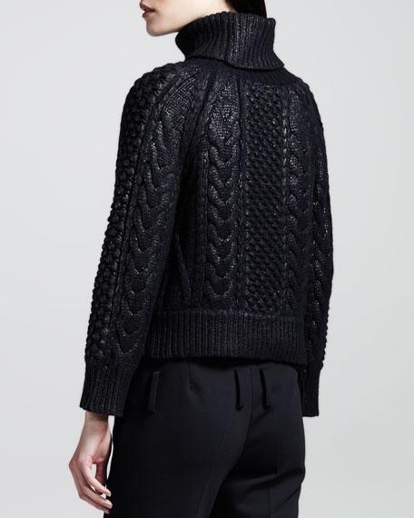 Waverley Laminated Mixed-Knit Sweater