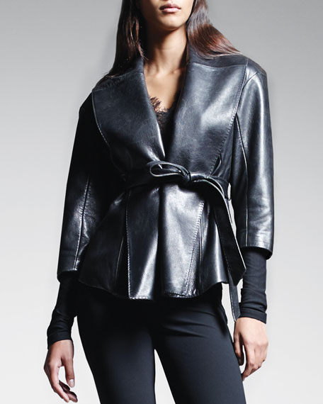 Belted Shawl-Collar Leather Jacket, Black